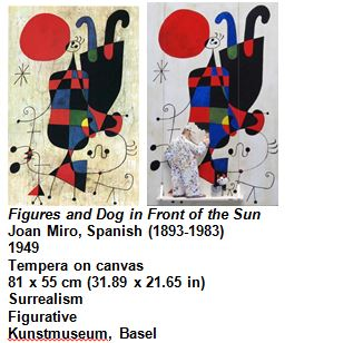 Figures and Dog in Front of the Sun Joan Miro