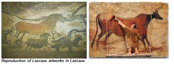 Reproduction of Lascaux artworks in Lascaux